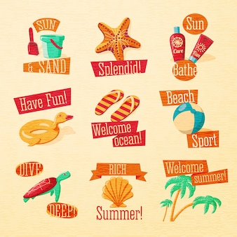 Set of cute bright summer icons with typographic elements.