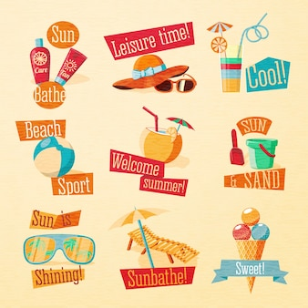 Set of cute bright summer icons with typographic elements. .