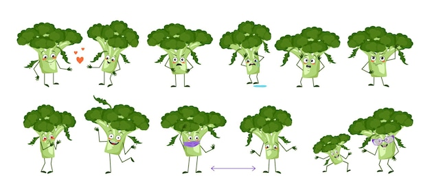 Set of cute broccoli characters with emotions, faces, arms and legs. funny or sad heroes, green vegetables play, fall in love, keep their distance. vector flat illustration