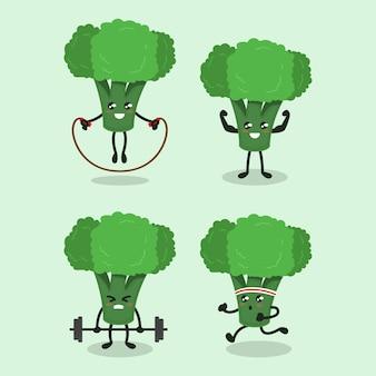 Set of cute broccoli healthy vegetable mascot