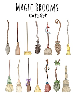 Set of cute broomstick doodles