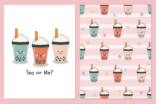 Set of cute  bubble milk ice teas with whipped cream topping with  seamless illustration patern background