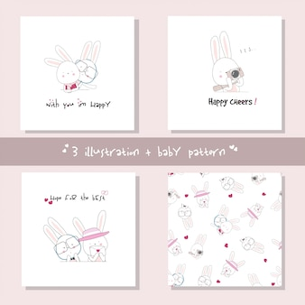 Set cute bunny cartoon character. hand drawn animal vector