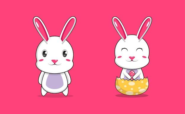 Установить милый кролик пасхальный персонаж иллюстрации