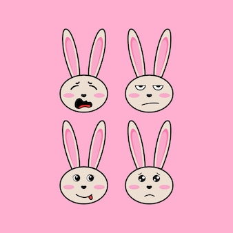 Set cute bunny rabbit cartoon head character with different expression vector illustration