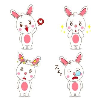 Установите милый кролик с другим выражением лица