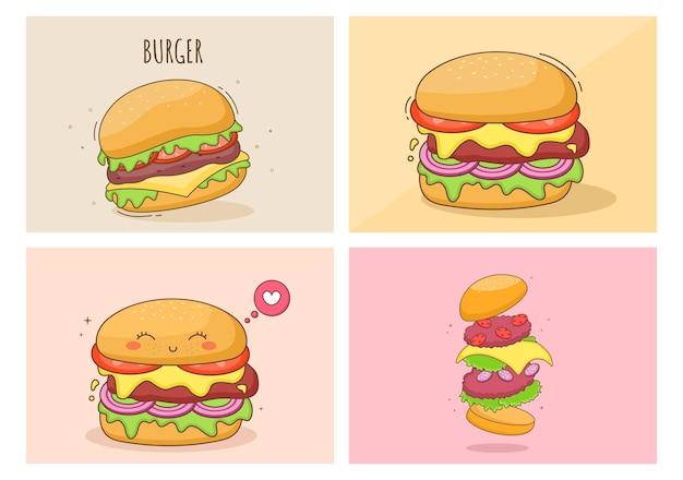 Set of cute burger fast food background vector illustration