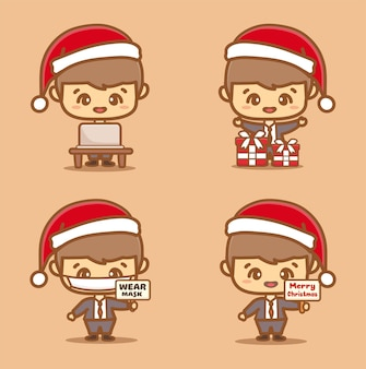 Set of cute business man. employee wear mask celebrating christmas new normal concept. kawaii style