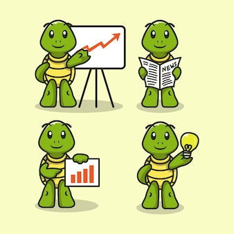 Set of cute business themed turtle mascot design illustration vector template
