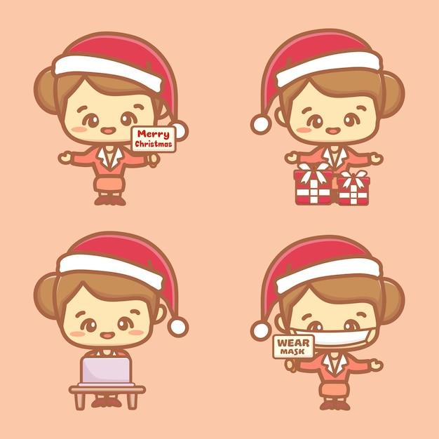 Set of cute business woman. employee wear mask celebrating christmas new normal concept. kawaii style