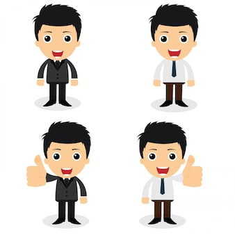 A set of cute businessman characters and office workers pose in various.