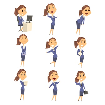 Set of cute businesswoman characters in different poses and emotions.