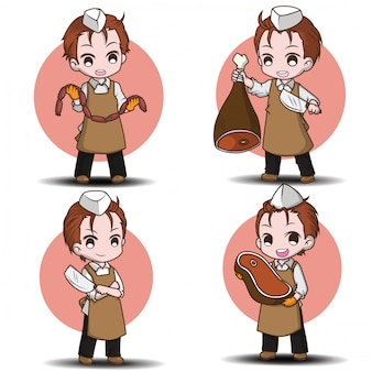 Set cute butcher cartoon character., job conten.