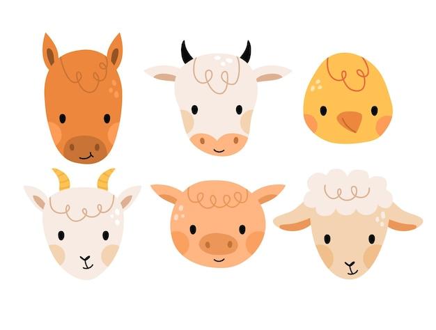 Set of cute caartoon farm animals