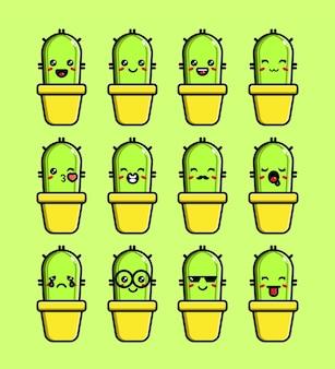 Set of cute cactus mascot character