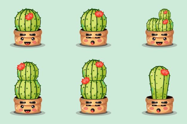 Set of cute cactus in a pot