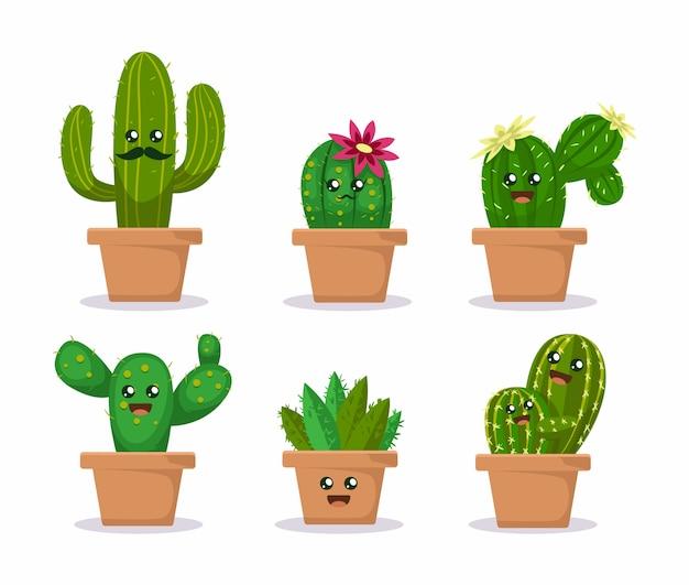 Set of cute cactus succulent plants mascot