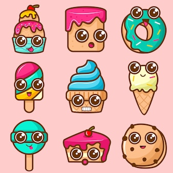Set of cute cake and ice cream character