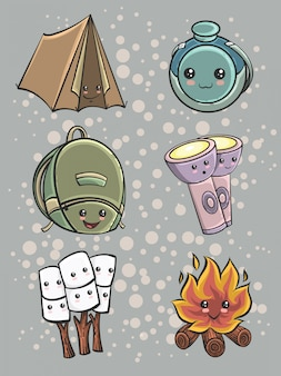 Set of cute camping equipment in hand drawn