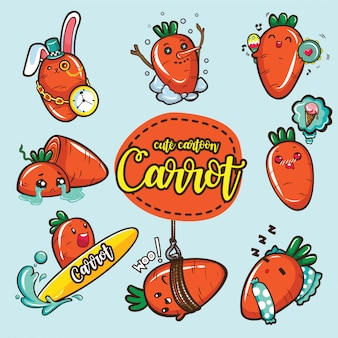 Set cute carrot cartoon character.