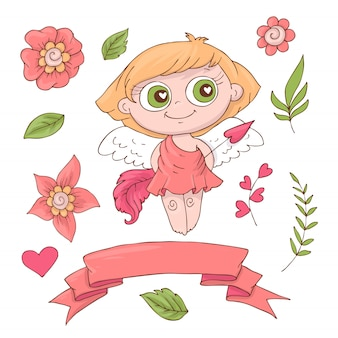 Set of cute cartoon angels for valentine s day