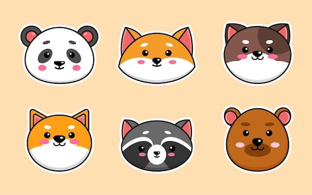 Set cute cartoon animal head illustration