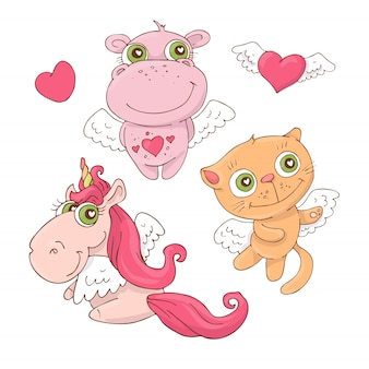Set of cute cartoon animals angels for valentine s day
