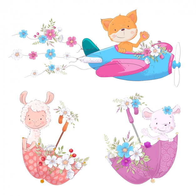Set cute cartoon animals fox lama and mouse on the plane and umbrellas with flowers children clipart.