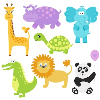 Set of cute cartoon  animals  giraffe  crocodile elephant hippo panda lion turtle