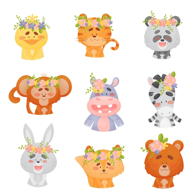Set of cute cartoon animals with flowers on their heads
