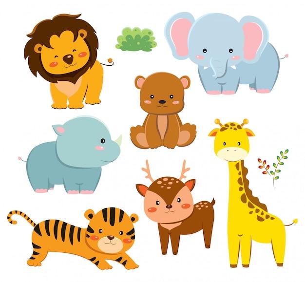 Set of cute cartoon animals Premium Vector