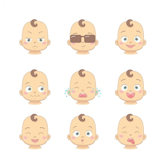 Set of cute cartoon baby or toddler with different funny emotions in flat style