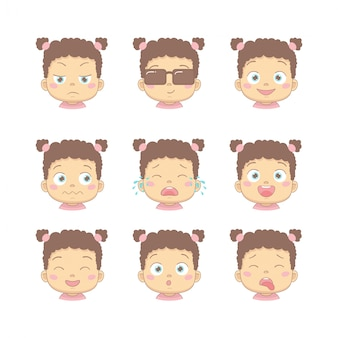 Set of cute cartoon baby with different funny emotions in flat design cartoon character. cute children with dissatisfied, business, smiling, crying, laughing, smiling and disgusted face.