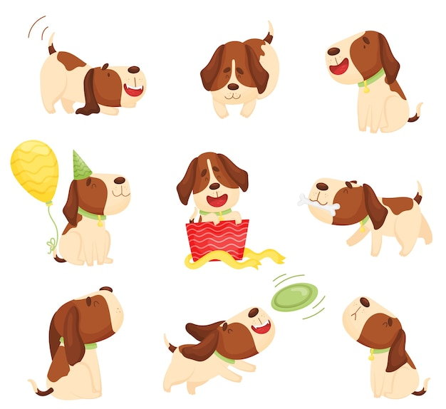 Set of cute cartoon beagle puppies playing and eating