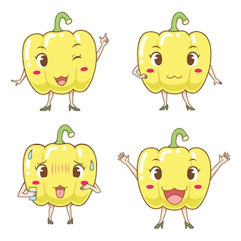 Set of cute cartoon bell peppers in different poses.