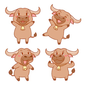 Set of cute cartoon buffalo in different poses.