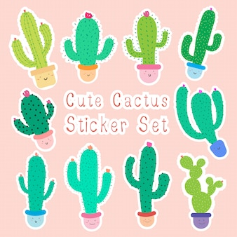 Set of cute cartoon cactus stickers with happy faces in pots