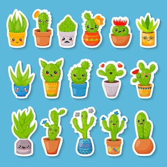 Set of cute cartoon cactus and succulents stickers