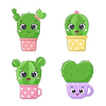 Set of cute cartoon cactus.