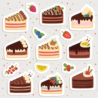 Set of cute cartoon cakes stickers. cute stickers, patches or pins collection.