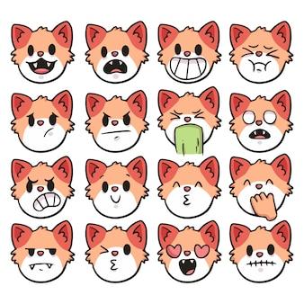 Set of cute cartoon cat emoji
