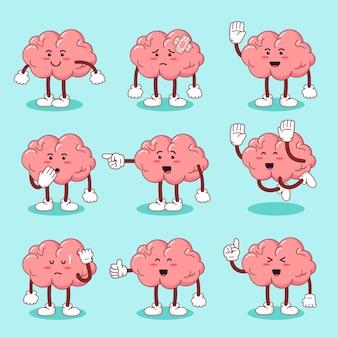 Set cute cartoon character brain  in flat style
