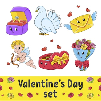 Set of cute cartoon characters valentines day clipart
