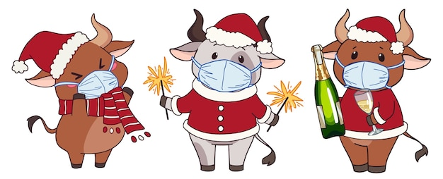 Set of cute cartoon cows wearing medical mask and christmas costume.