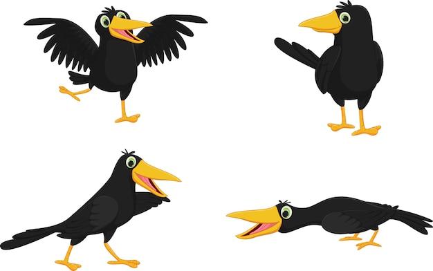 Set of cute cartoon crow