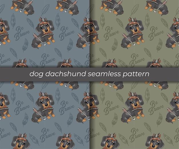 Set of cute cartoon dachshund seamless pattern