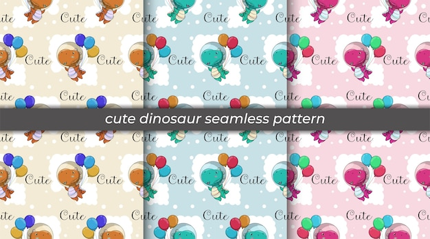 Set of cute cartoon dinosaur flying with balloons seamless pattern