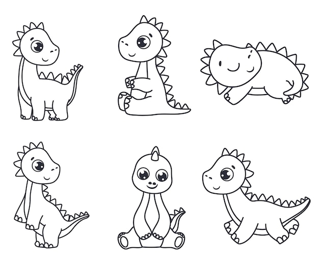 A set of cute cartoon dinosaurs. black and white vector illustration for a coloring book. contour drawing.
