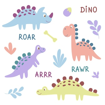 Set of cute cartoon dinosaurs. colorfull funny dinosaurs for baby.