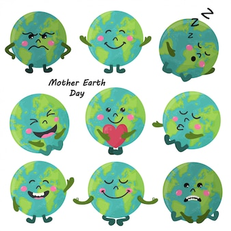 Set of cute cartoon earth globe with emotions
